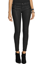 Current/Elliott The Stiletto Biker coated mid-rise skinny jeans