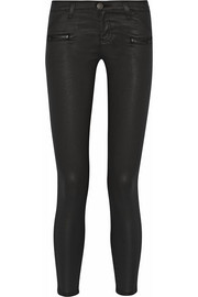 The Stiletto Biker coated mid-rise skinny jeans