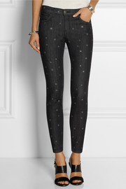 Current/Elliott The Stiletto star-print mid-rise skinny jeans