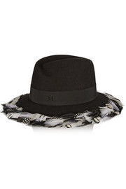 Virginie feather-trimmed rabbit-felt fedora