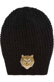 Jennifer Behr Swarovski crystal-embellished ribbed wool and silk-blend beanie