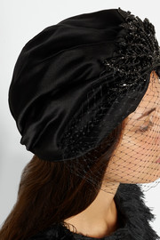Jennifer Behr Swarovski crystal-embellished silk and net turban