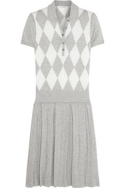 Argyle-knit cotton and cashmere-blend polo dress