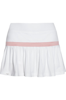 Pleated piqué and stretch-jersey skirt shorts