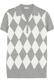 Argyle-knit cotton and cashmere-blend polo shirt