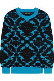 House of Holland Flocked stretch-knit sweater