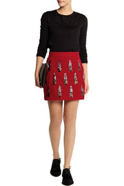 House of Holland Sequin-embellished velvet mini skirt