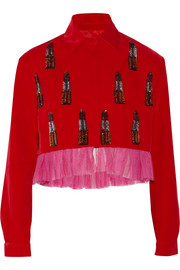 House of Holland Sequin-embellished velvet jacket