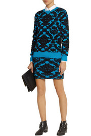 House of Holland Flocked stretch-knit mini skirt