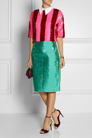 House of Holland Metallic leather skirt