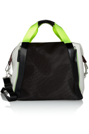 Color-block leather, canvas and mesh holdall