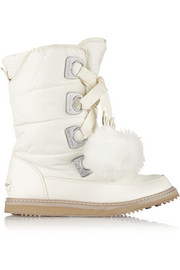 DKNY Verna faux fur-trimmed shell boots