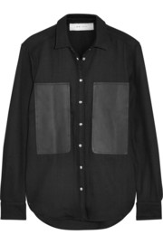 Claudie leather-paneled woven cotton shirt