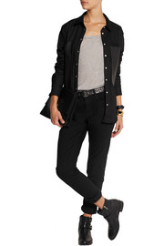 IRO Claudie leather-paneled woven cotton shirt