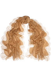 Valentino Lace-trimmed wool and silk-blend scarf