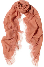 Valentino Lace-trimmed wool-voile scarf