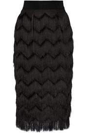 Milly Fringed woven skirt