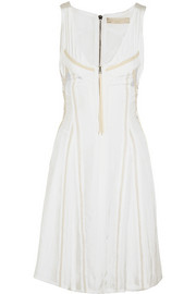 Vanessa Bruno Grosgrain-trimmed washed-satin dress