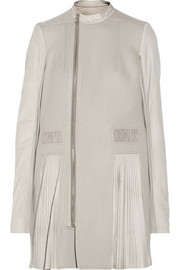 Rick Owens Pleated leather and wool-felt coat