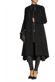 Rick Owens Eliel shearling and leather-trimmed cashmere coat