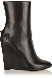 Mina polished-leather wedge boots