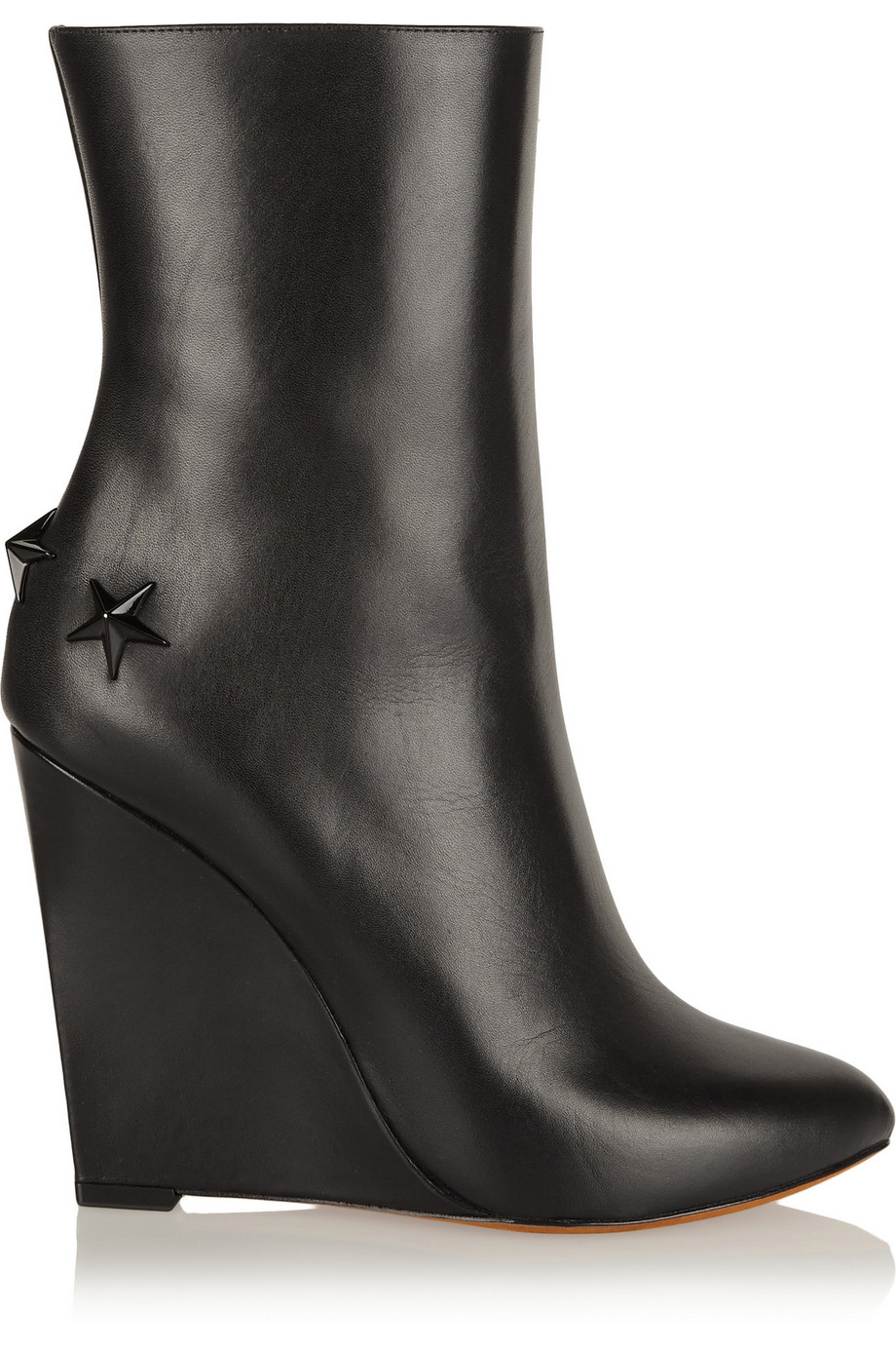 Givenchy Mina Polished-Leather Wedge Boots, Black, Women's US Size: 9.5, Size: 40