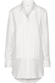 TITLE A Pleated washed-silk shirt