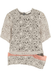 Michael van der Ham Macramé lace and silk-organza top
