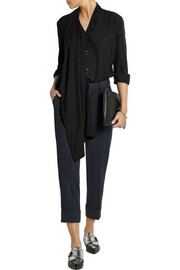 TITLE A Boa draped matte-silk blouse