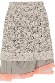 Michael van der Ham Macramé lace and silk-organza skirt