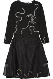 Michael van der Ham Crystal-embellished bouclé and silk-organza dress