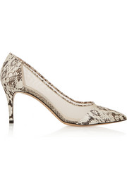 Bionda Castana Lama elaphe and mesh pumps