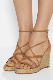 Paloma Barceló Braided leather wedge espadrilles