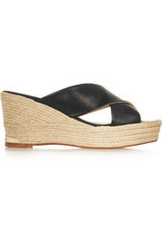 Paloma Barceló Leather wedge espadrilles