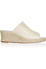 Leather espadrille mules