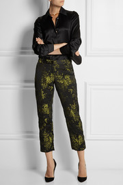 Vera Wang Metallic floral-brocade slim-leg pants