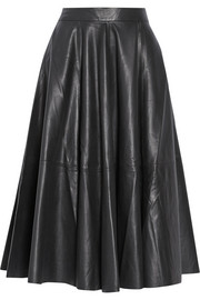 Vera Wang Leather midi skirt