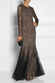 Vera Wang Floral-lace gown