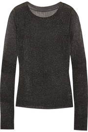 Vera Wang Metallic ribbed stretch-knit top
