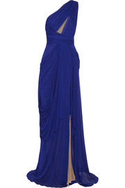 J Mendel One-shoulder cutout chiffon gown