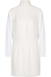 Nina Ricci Paneled silk, lace and ribbed-knit wool mini dress