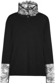 Nina Ricci Lace-trimmed jersey turtleneck top