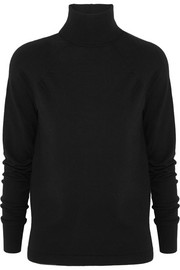 Cutout merino wool-blend jersey sweater