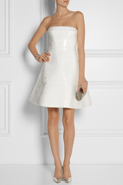 KAUFMANFRANCO Sequined silk-twill mini dress