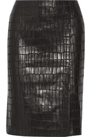 KAUFMANFRANCO Croc-effect leather pencil skirt
