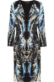Roberto Cavalli Lace-paneled printed stretch-jersey dress