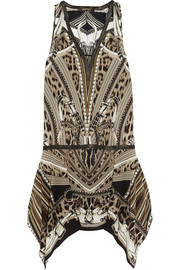 Roberto Cavalli Leather-trimmed printed silk mini dress