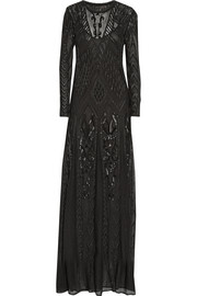 Roberto Cavalli Beaded crochet-knit gown