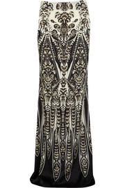 Roberto Cavalli Printed stretch-silk satin maxi skirt