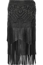 Falda de cuero rematada con varios niveles de flecos de R. Cavalli